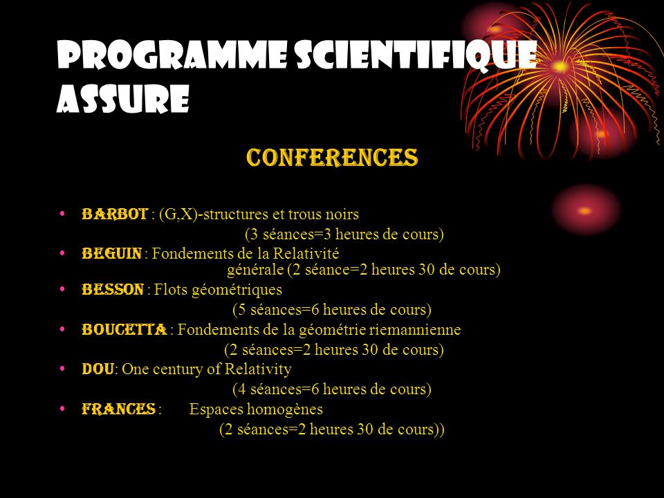 PROGRAMME SCIENTIFIQUE ASSURE
