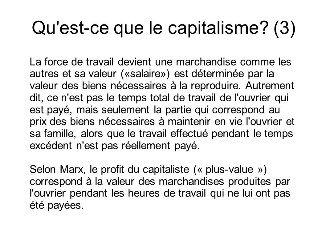 Qu est-ce que le capitalisme (3)