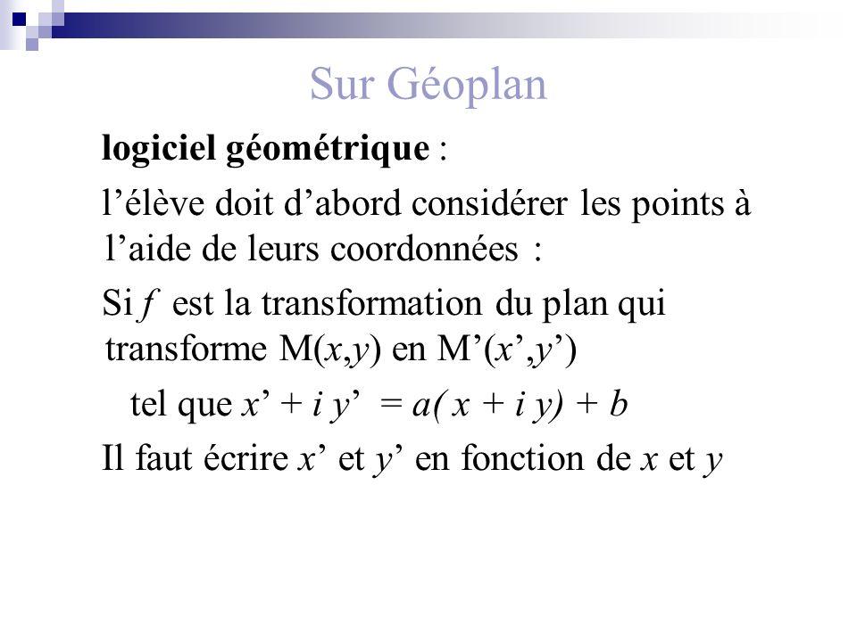 Sur Géoplan logiciel géométrique :