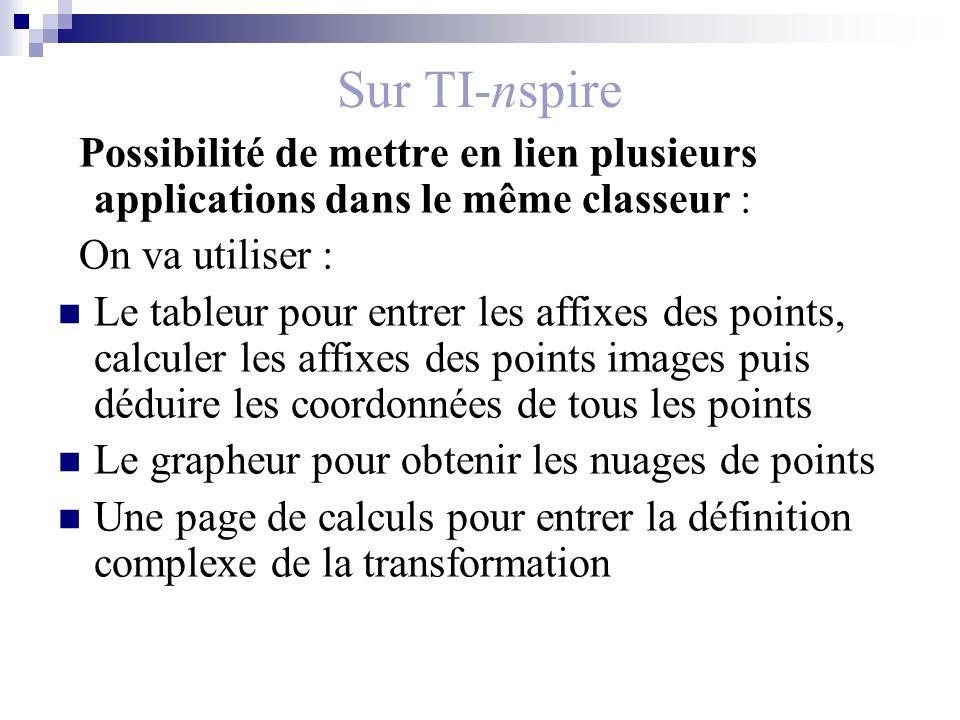 Sur TI-nspire Possibilité de mettre en lien plusieurs applications dans le même classeur : On va utiliser :