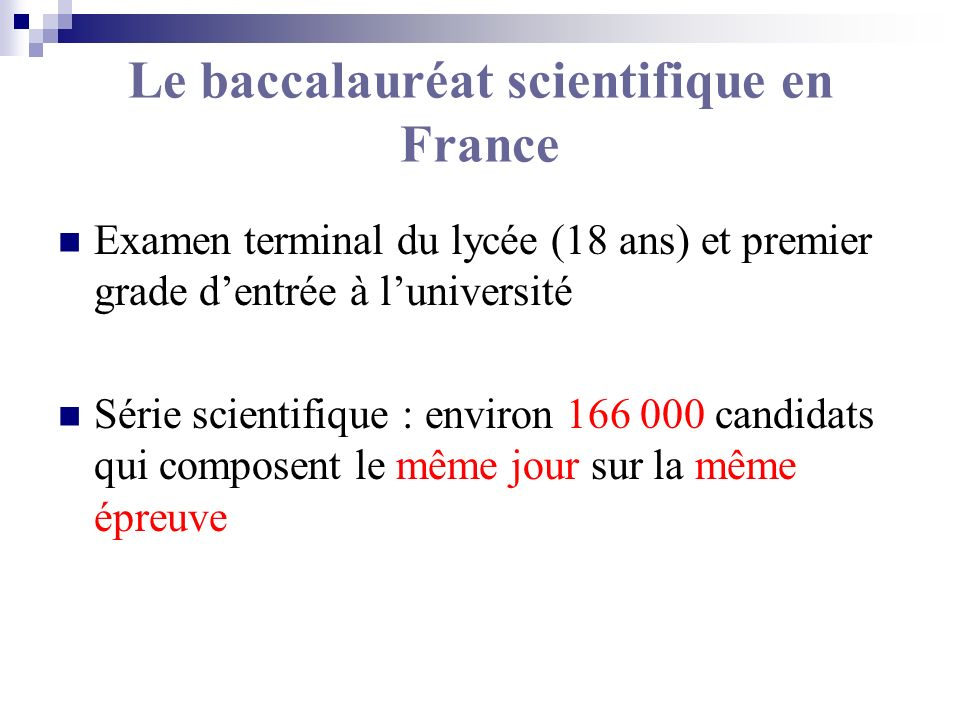 Le baccalauréat scientifique en France