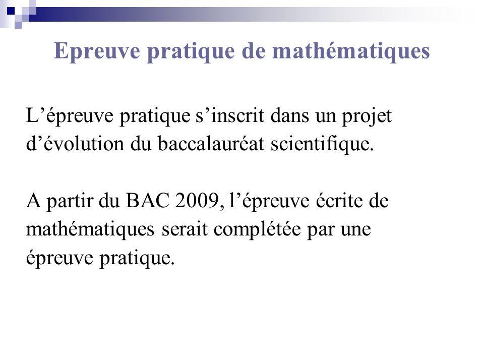 Epreuve pratique de mathématiques