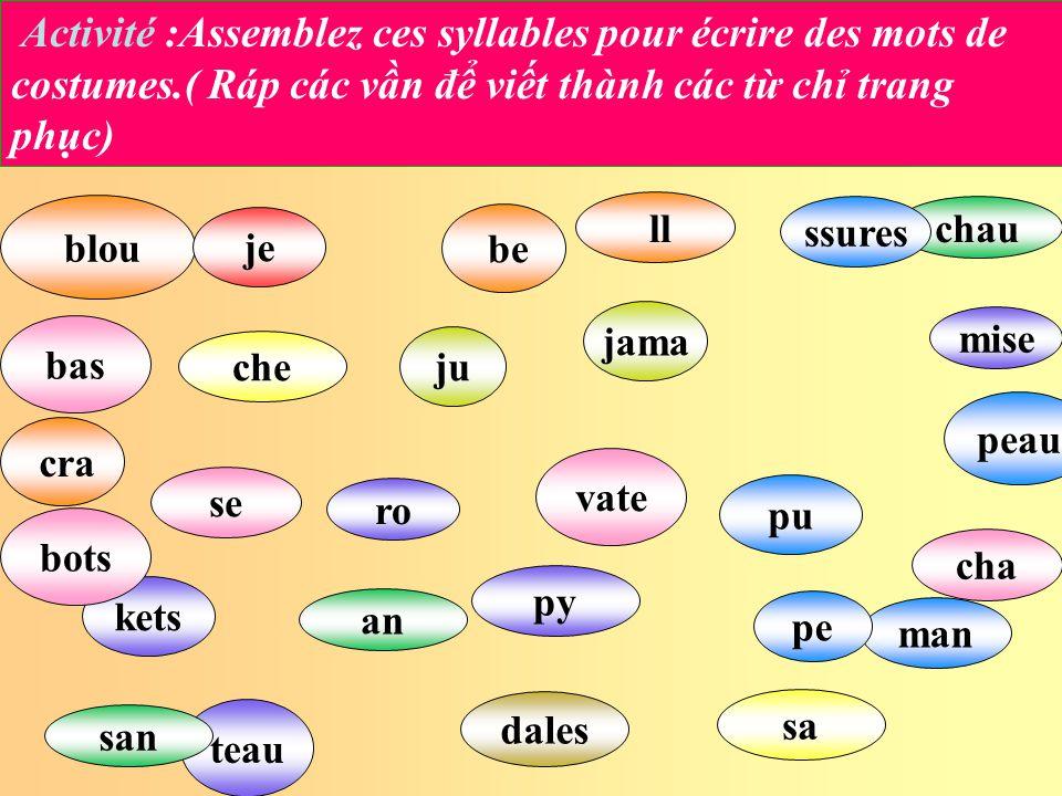 Activité :Assemblez ces syllables pour écrire des mots de costumes
