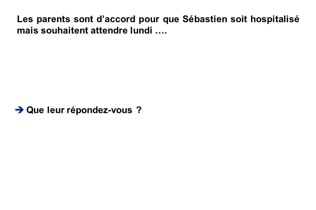 Les parents sont d'accord pour que Sébastien soit hospitalisé mais souhaitent attendre lundi ….