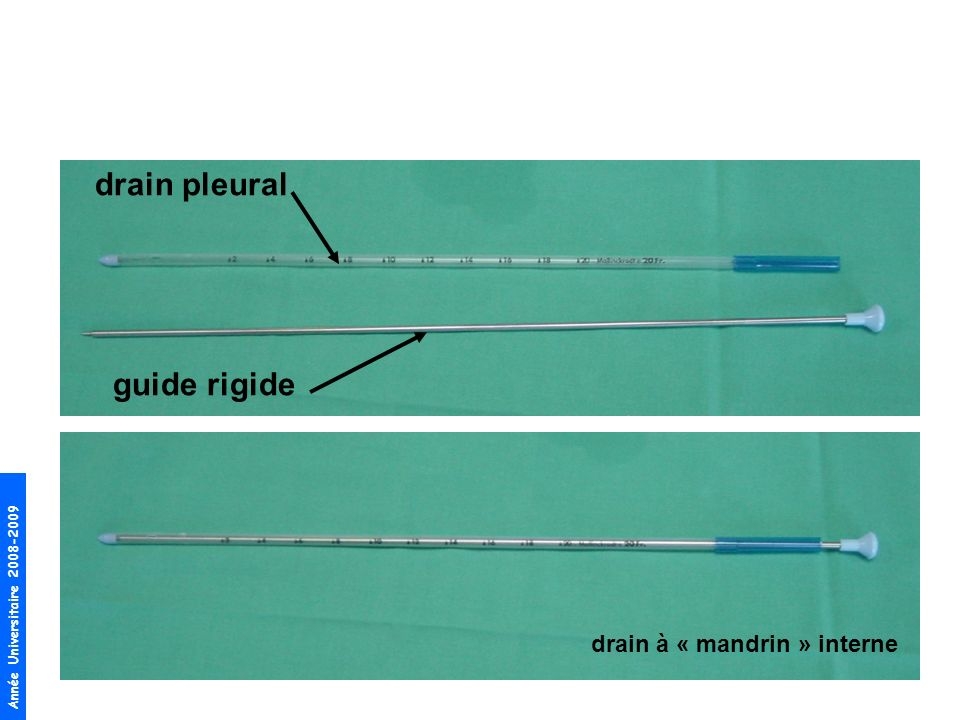 drain pleural guide rigide drain à « mandrin » interne