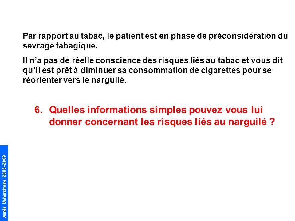 Par rapport au tabac, le patient est en phase de préconsidération du sevrage tabagique.
