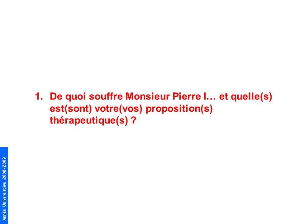 De quoi souffre Monsieur Pierre I… et quelle(s) est(sont) votre(vos) proposition(s) thérapeutique(s)