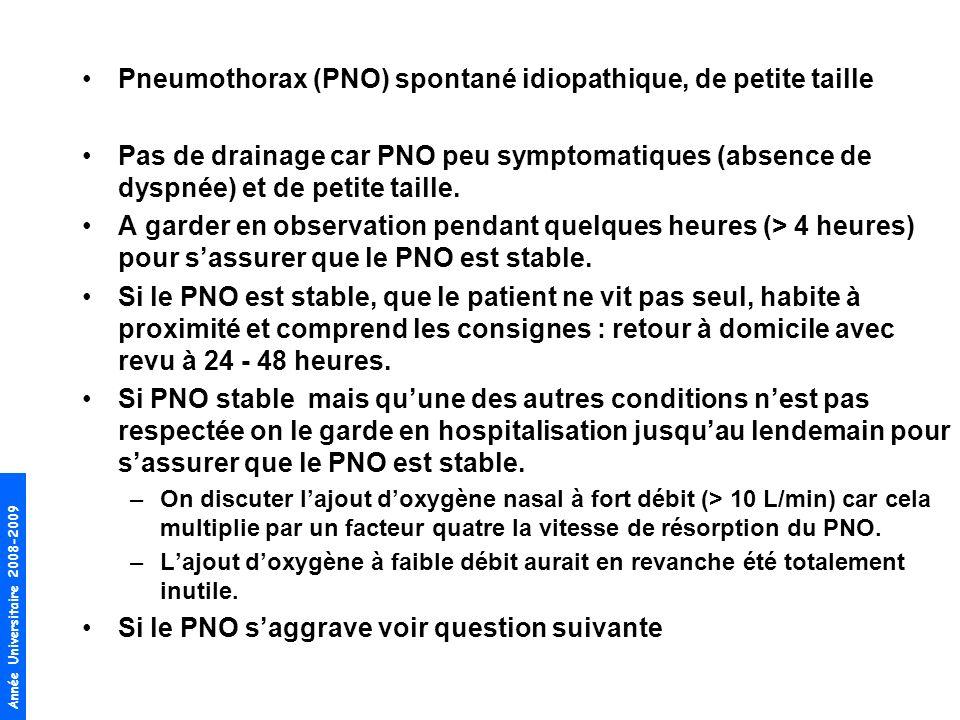 Pneumothorax (PNO) spontané idiopathique, de petite taille