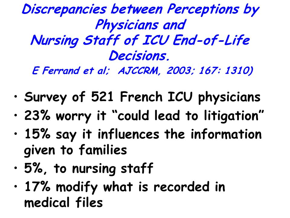 Discrepancies between Perceptions by Physicians and Nursing Staff of ICU End-of-Life Decisions. E Ferrand et al; AJCCRM, 2003; 167: 1310)