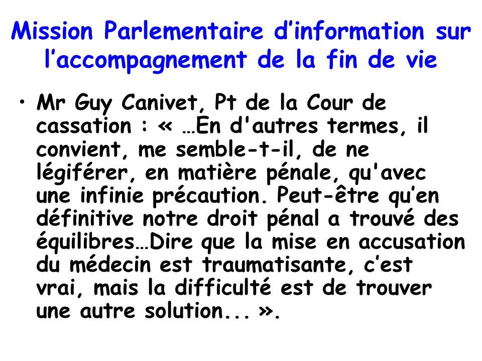 Mission Parlementaire d'information sur l'accompagnement de la fin de vie