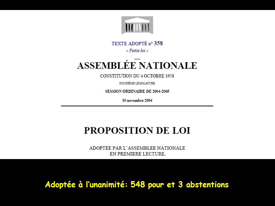 Adoptée à l'unanimité: 548 pour et 3 abstentions