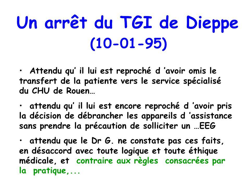 Un arrêt du TGI de Dieppe (10-01-95)