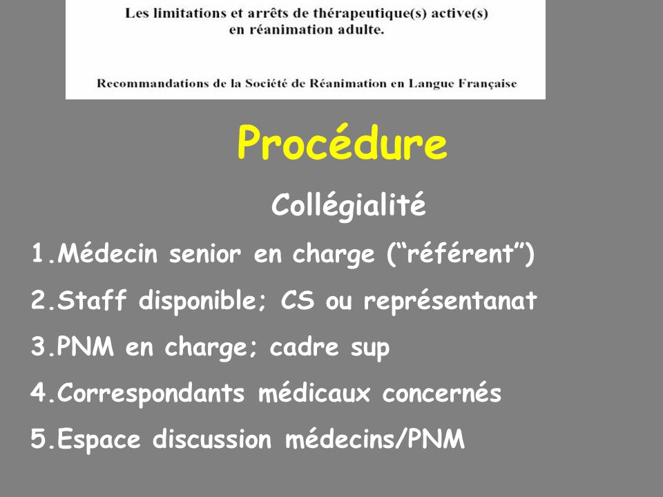 Procédure Collégialité Médecin senior en charge ( référent )