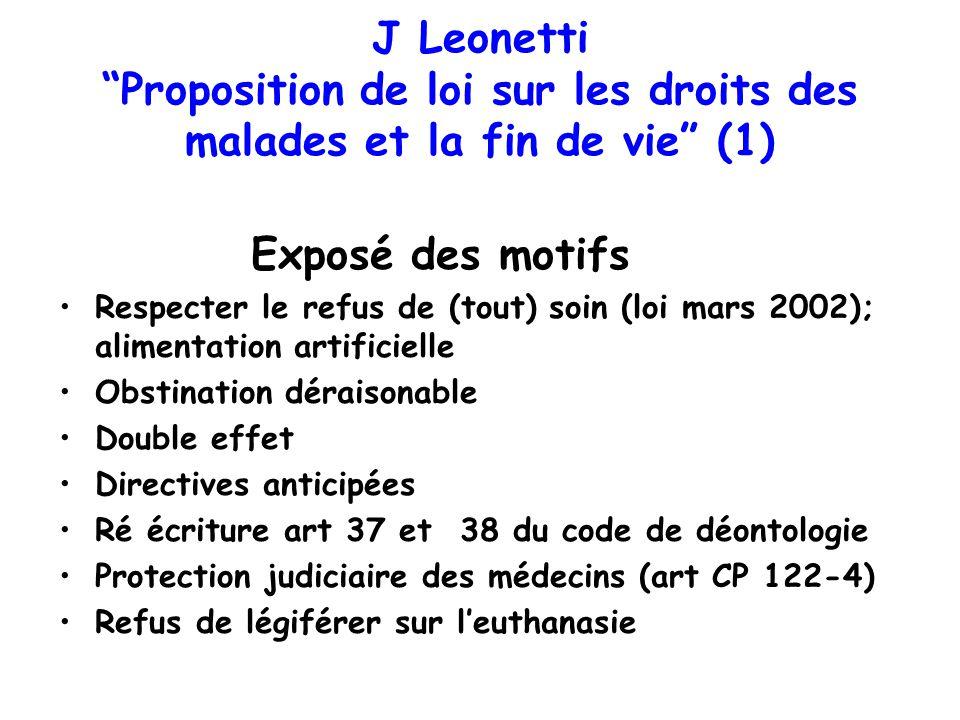 J Leonetti Proposition de loi sur les droits des malades et la fin de vie (1)