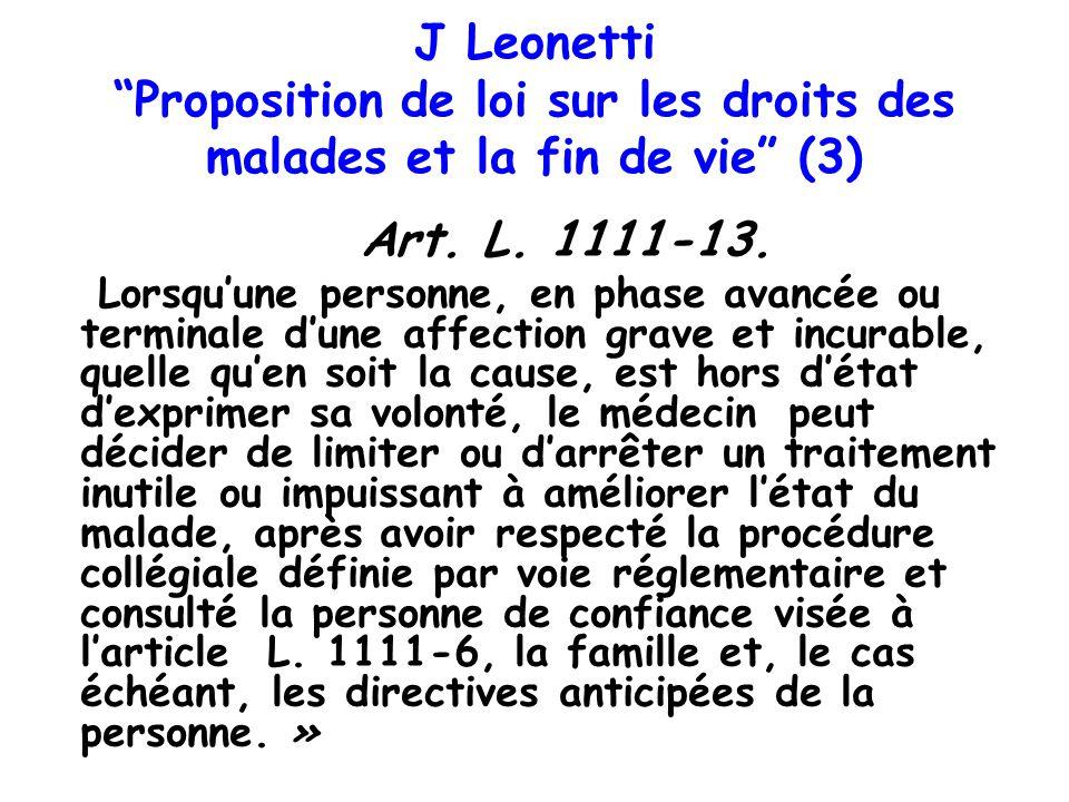 J Leonetti Proposition de loi sur les droits des malades et la fin de vie (3)