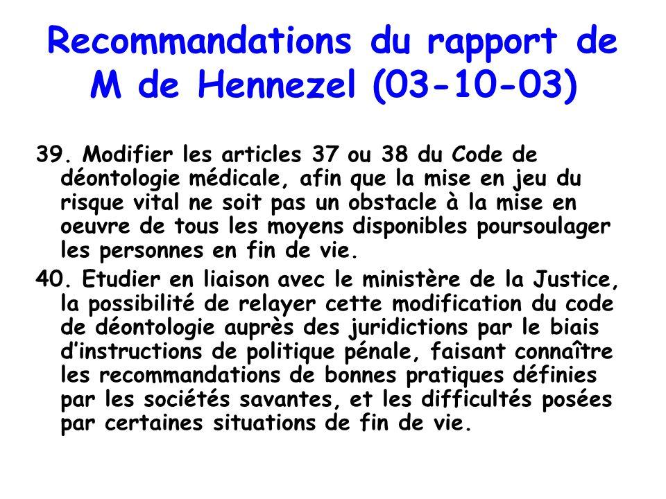 Recommandations du rapport de M de Hennezel (03-10-03)