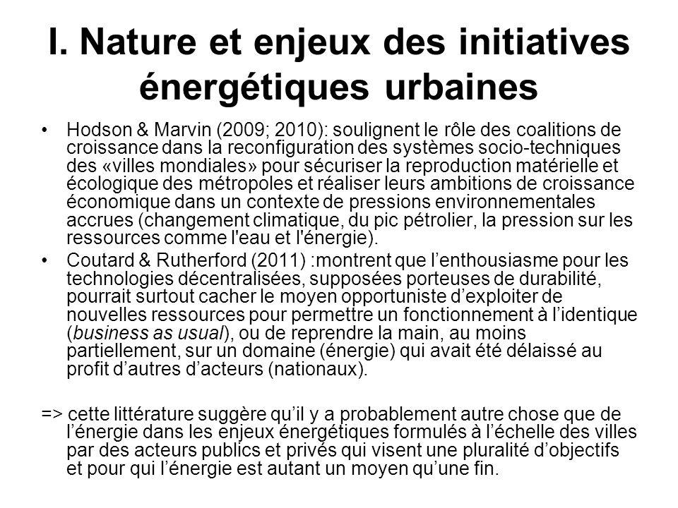 I. Nature et enjeux des initiatives énergétiques urbaines