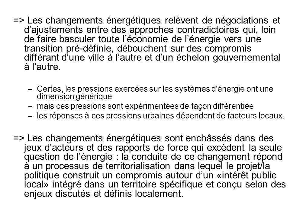 => Les changements énergétiques relèvent de négociations et d'ajustements entre des approches contradictoires qui, loin de faire basculer toute l'économie de l'énergie vers une transition pré-définie, débouchent sur des compromis différant d'une ville à l'autre et d'un échelon gouvernemental à l'autre.
