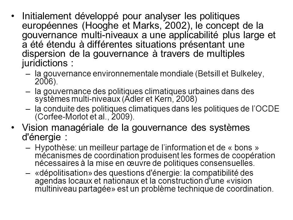 Vision managériale de la gouvernance des systèmes d énergie :