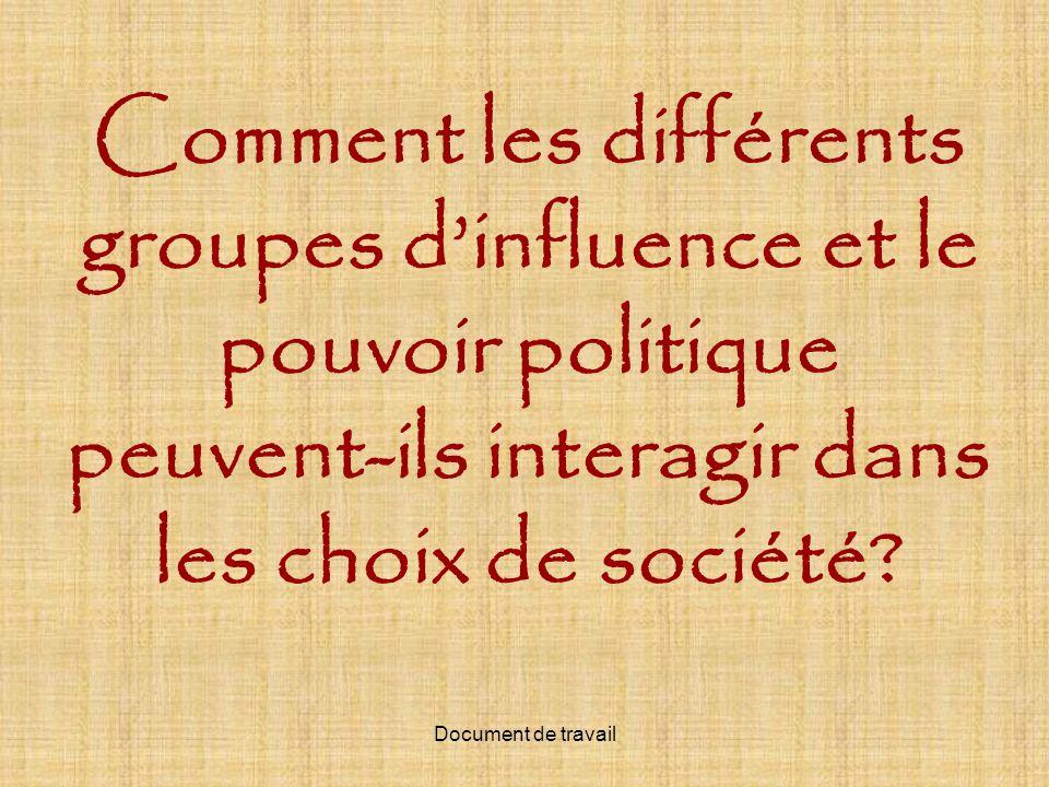 Comment les différents groupes d'influence et le pouvoir politique peuvent-ils interagir dans les choix de société