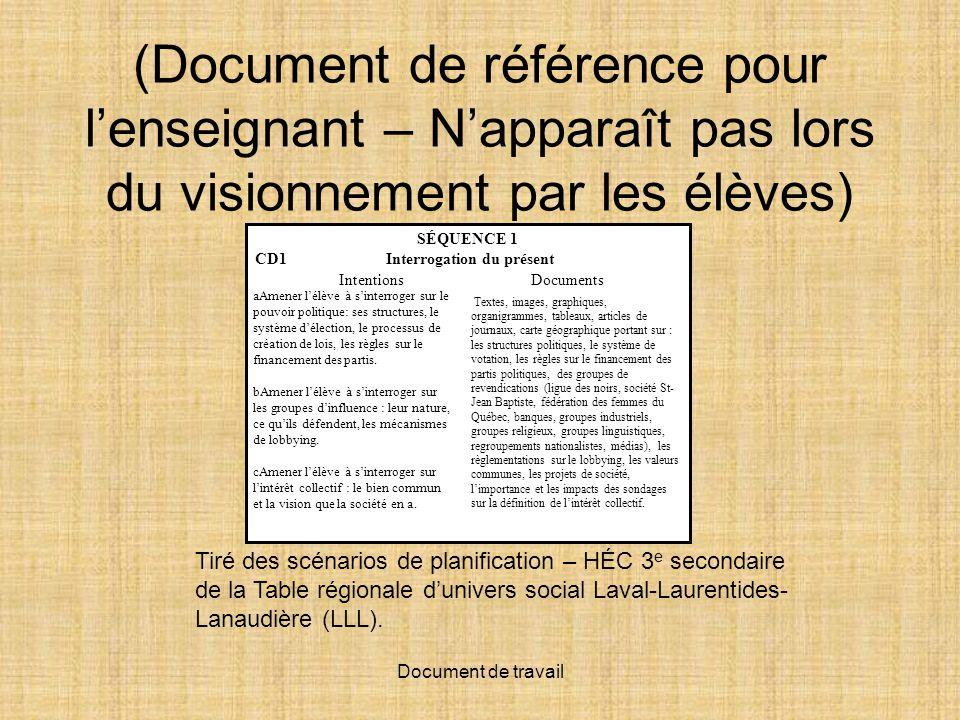 (Document de référence pour l'enseignant – N'apparaît pas lors du visionnement par les élèves)