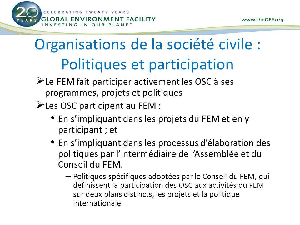 Organisations de la société civile : Politiques et participation