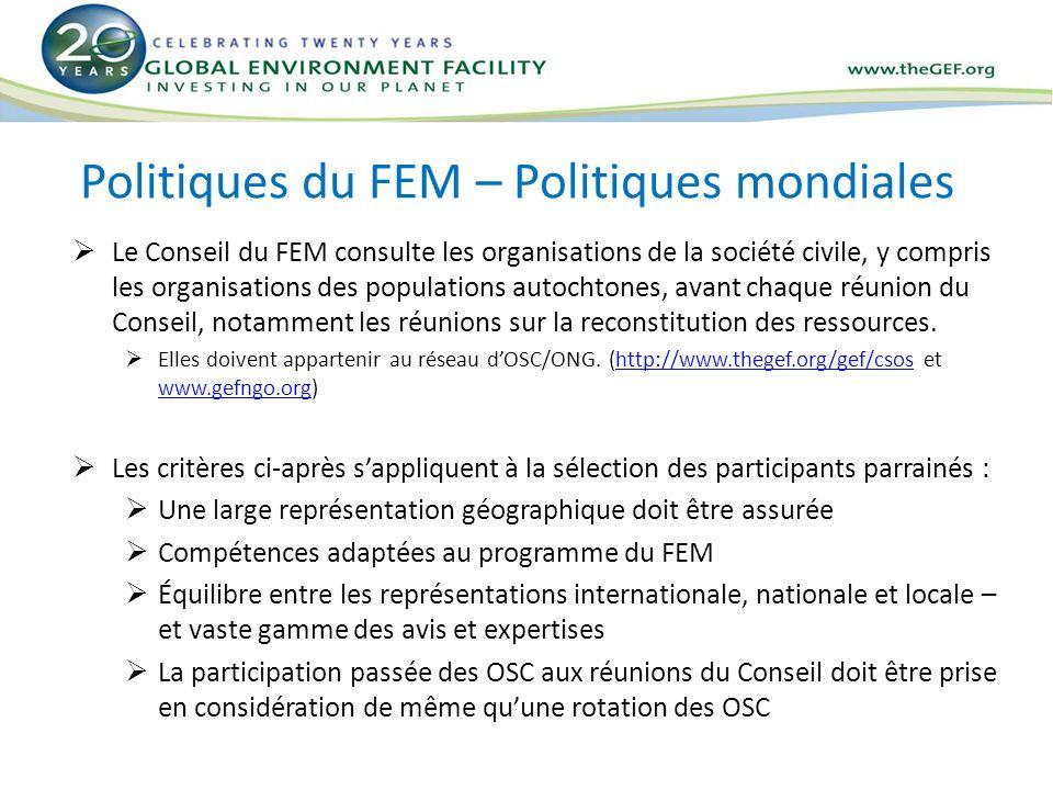 Politiques du FEM – Politiques mondiales