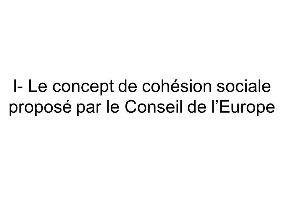 I- Le concept de cohésion sociale proposé par le Conseil de l'Europe