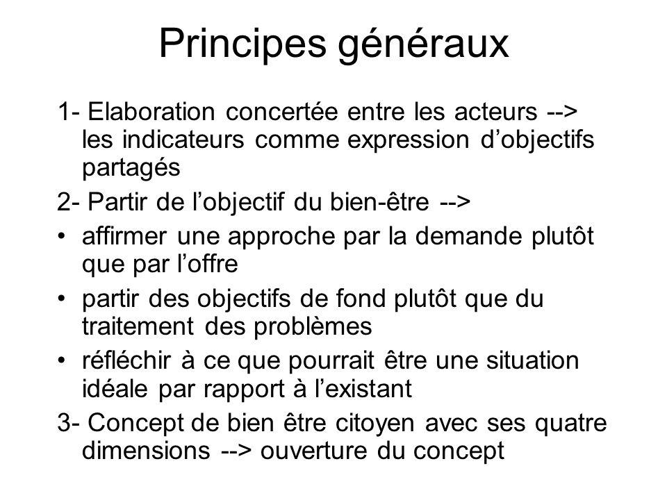 Principes généraux 1- Elaboration concertée entre les acteurs --> les indicateurs comme expression d'objectifs partagés.