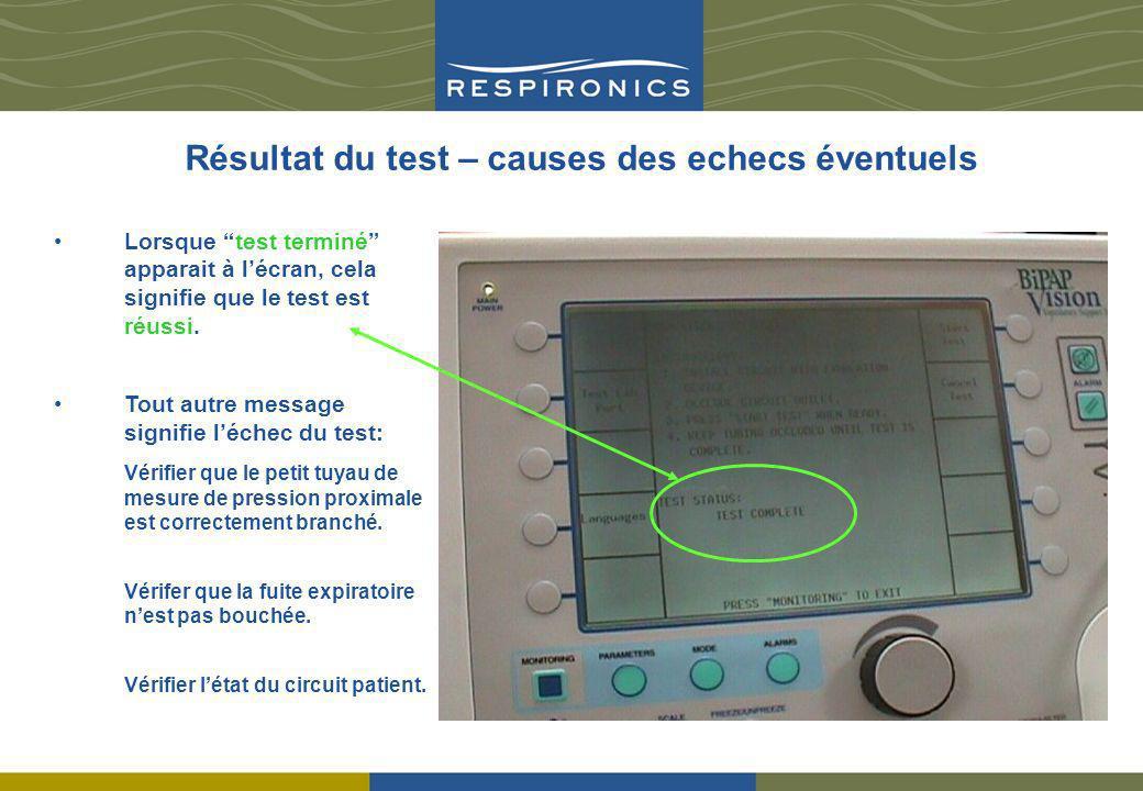 Résultat du test – causes des echecs éventuels