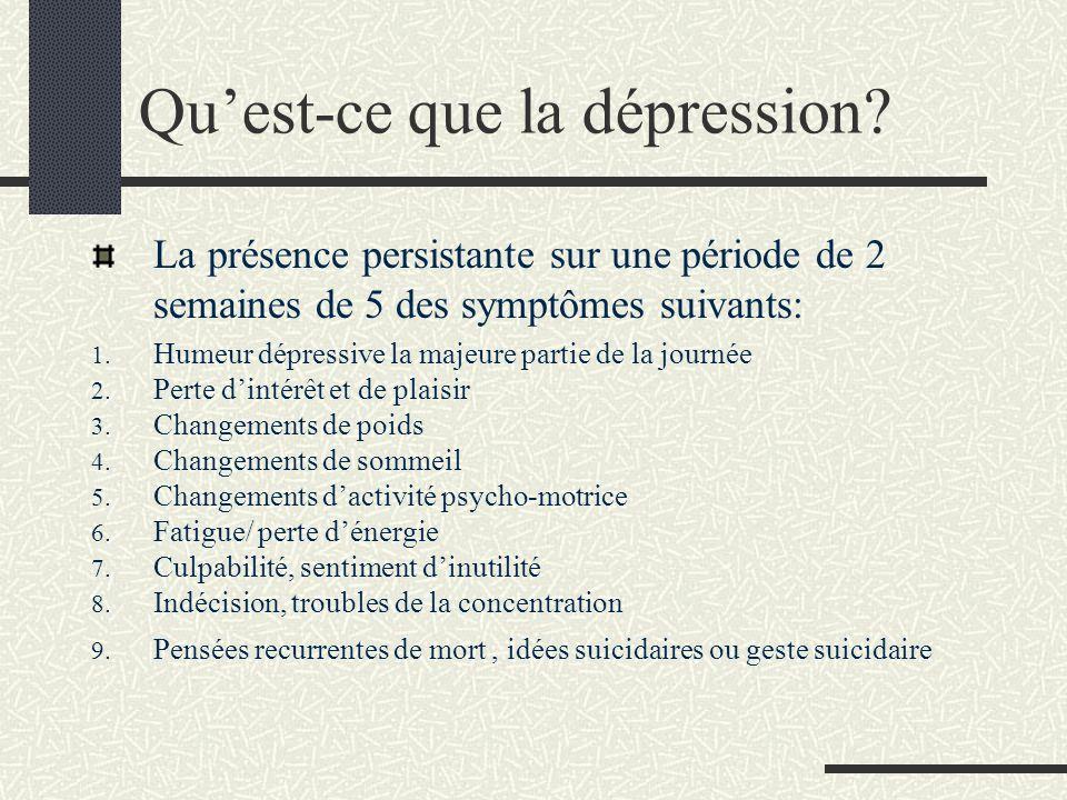 Qu'est-ce que la dépression