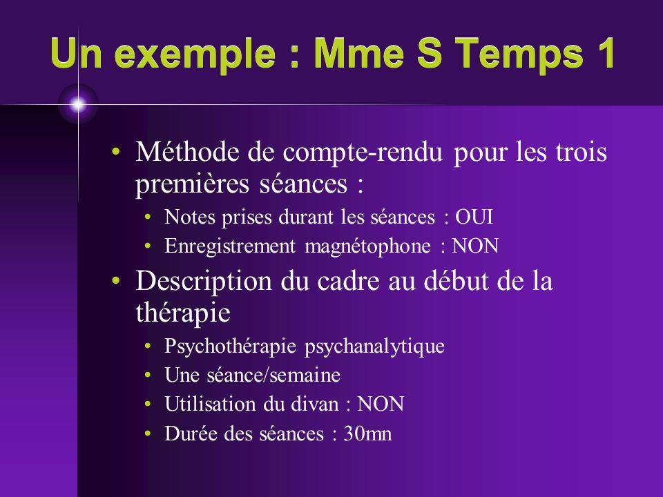 Un exemple : Mme S Temps 1 Méthode de compte-rendu pour les trois premières séances : Notes prises durant les séances : OUI.