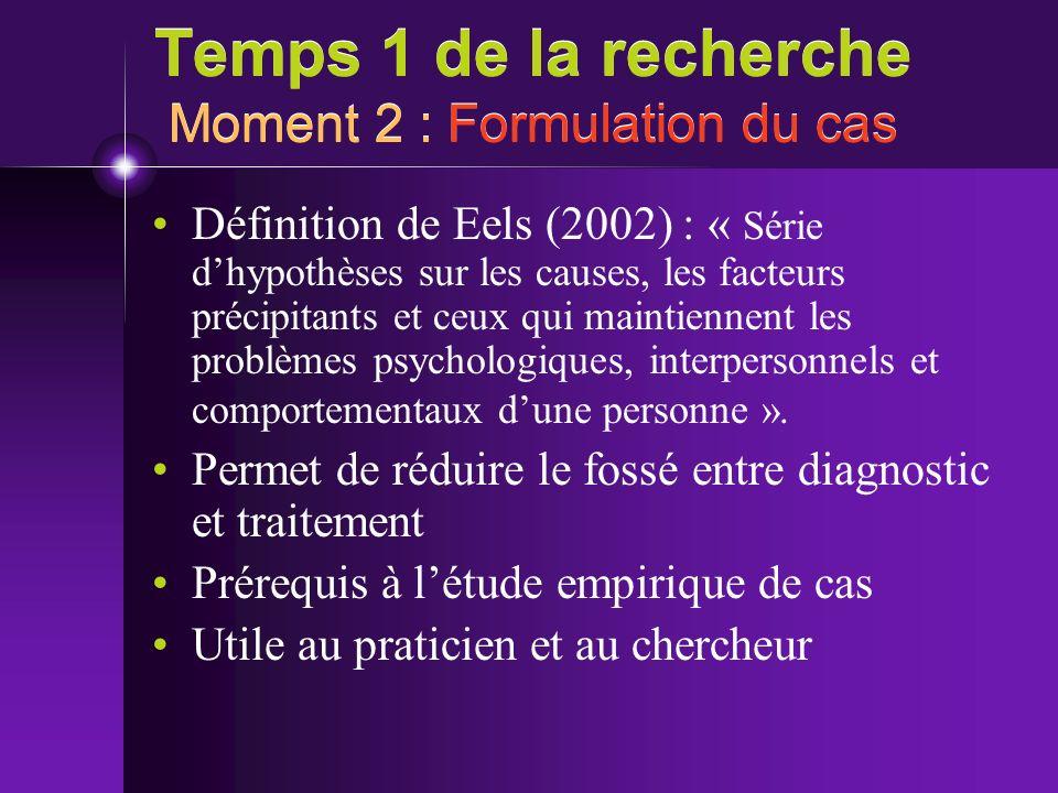 Temps 1 de la recherche Moment 2 : Formulation du cas