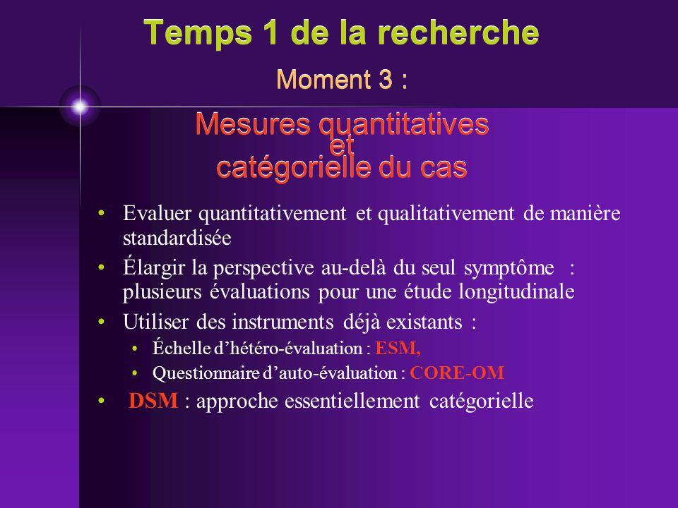 Temps 1 de la recherche Moment 3 : Mesures quantitatives et catégorielle du cas