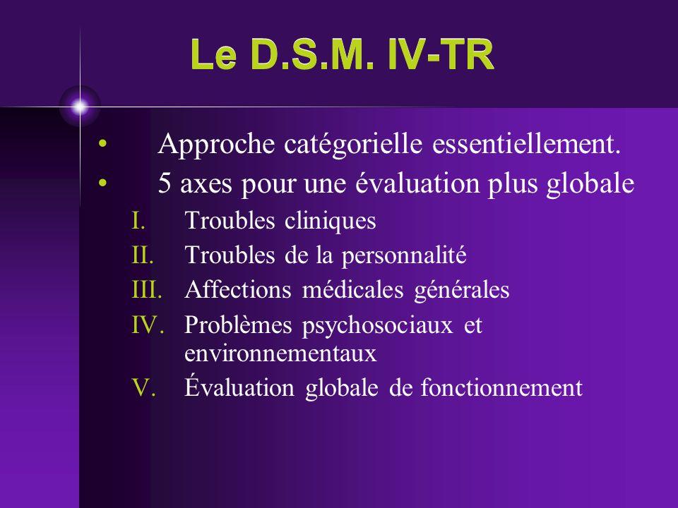 Le D.S.M. IV-TR Approche catégorielle essentiellement.