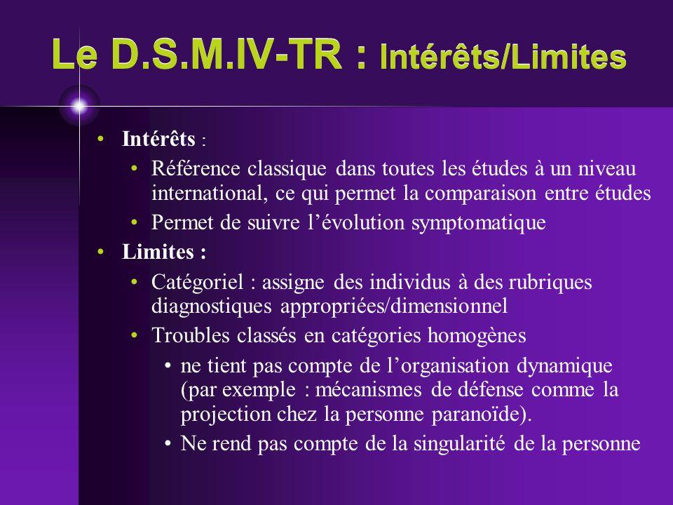 Le D.S.M.IV-TR : Intérêts/Limites