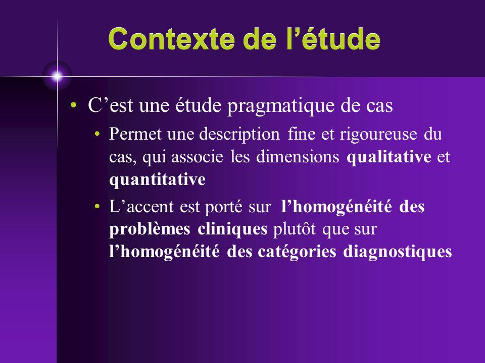 Contexte de l'étude C'est une étude pragmatique de cas