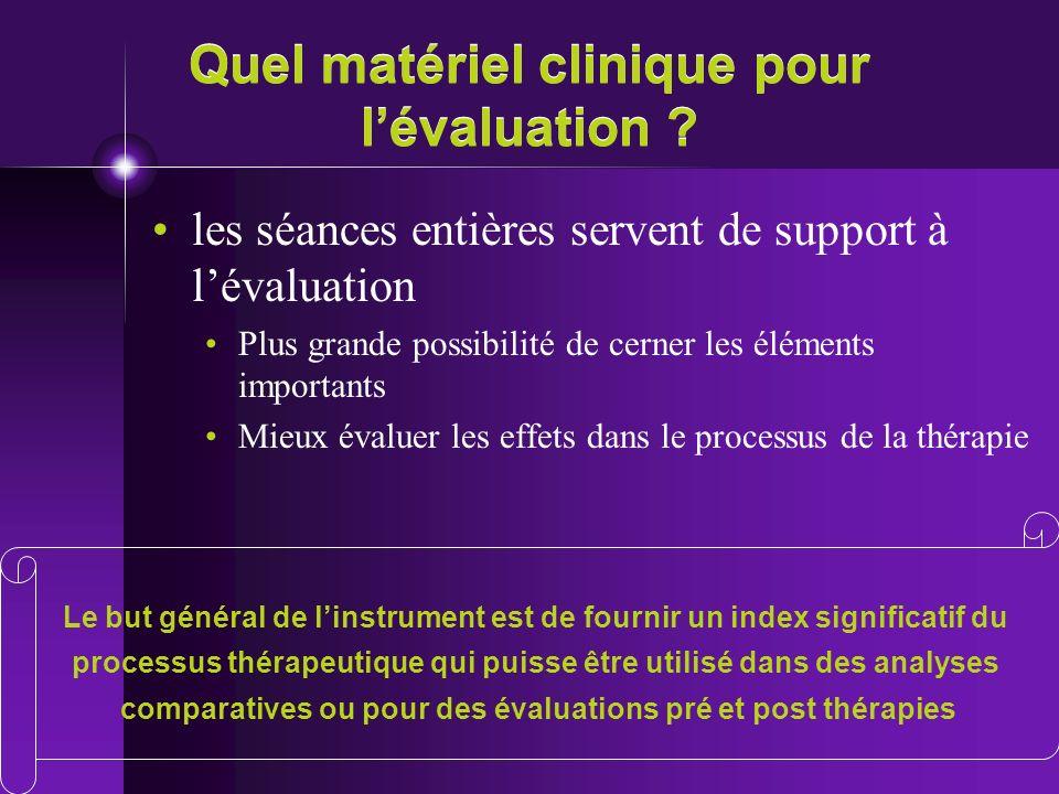Quel matériel clinique pour l'évaluation