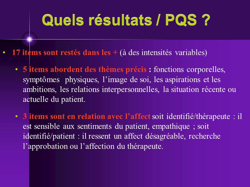 Quels résultats / PQS 17 items sont restés dans les + (à des intensités variables)