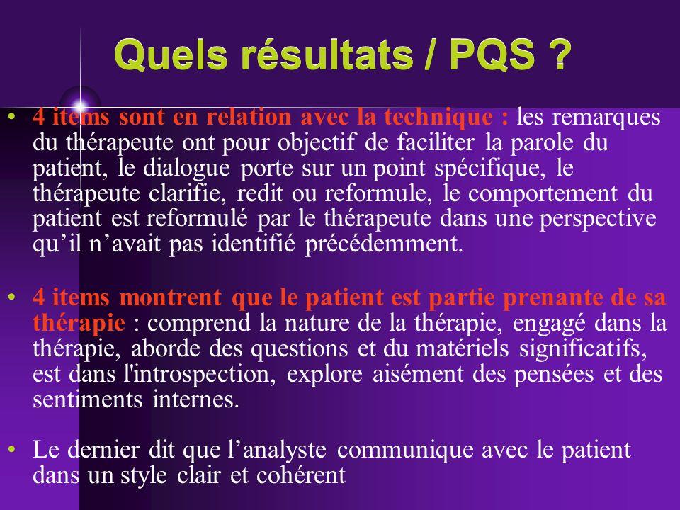 Quels résultats / PQS