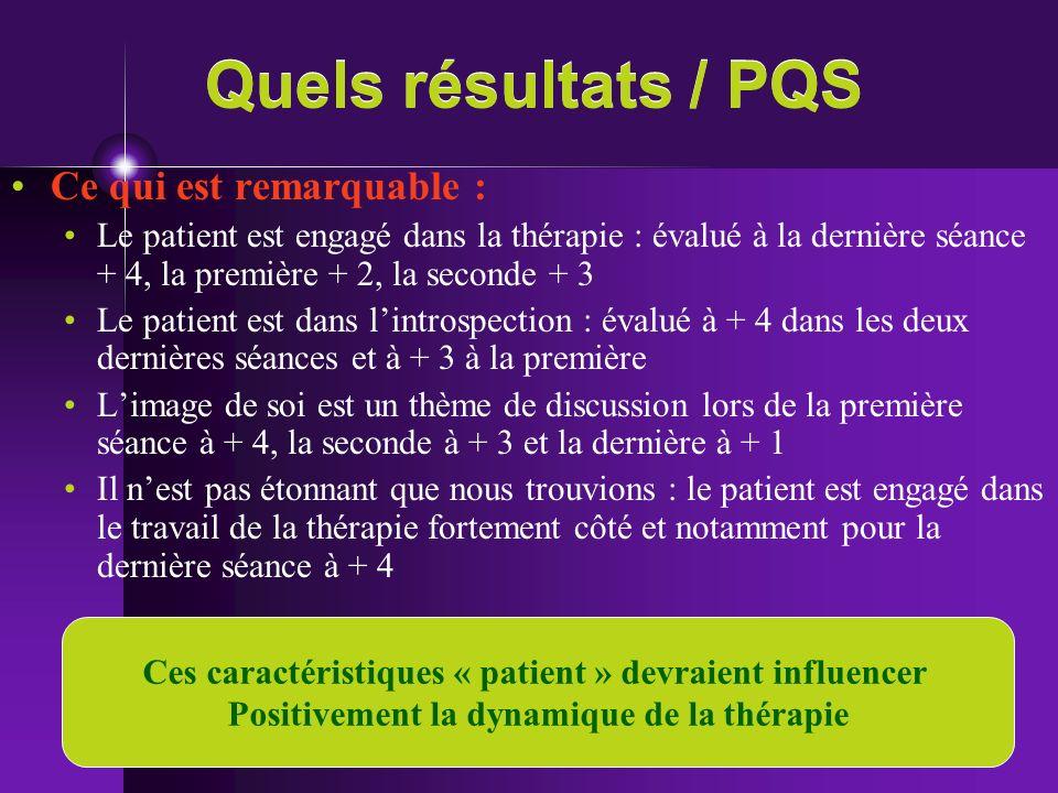 Quels résultats / PQS Ce qui est remarquable :