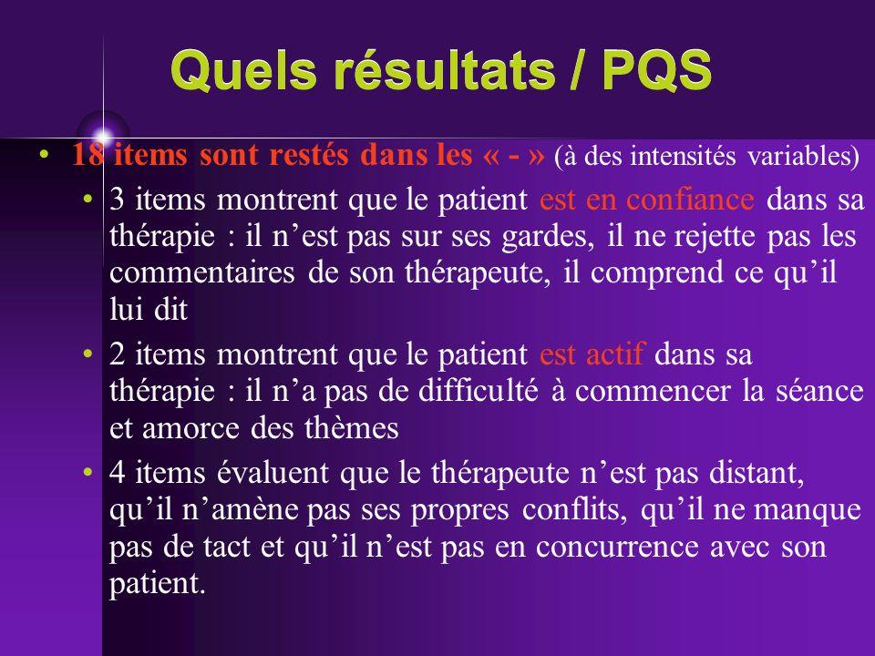 Quels résultats / PQS 18 items sont restés dans les « - » (à des intensités variables)