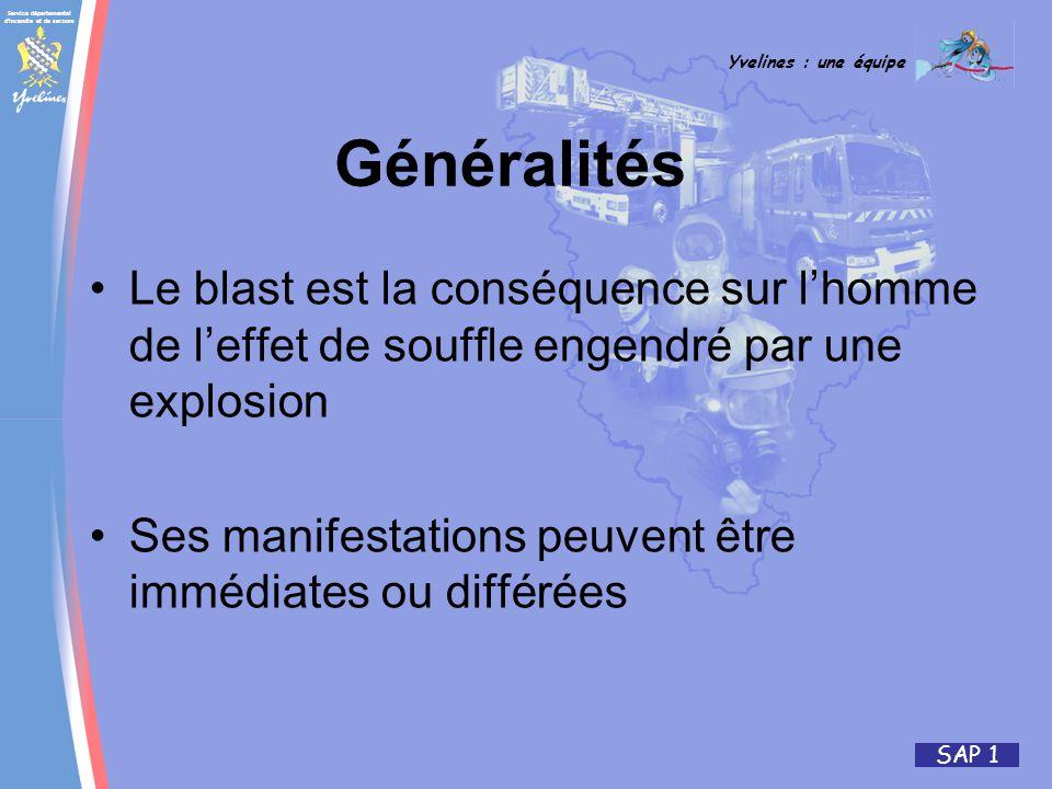 Généralités Le blast est la conséquence sur l'homme de l'effet de souffle engendré par une explosion.