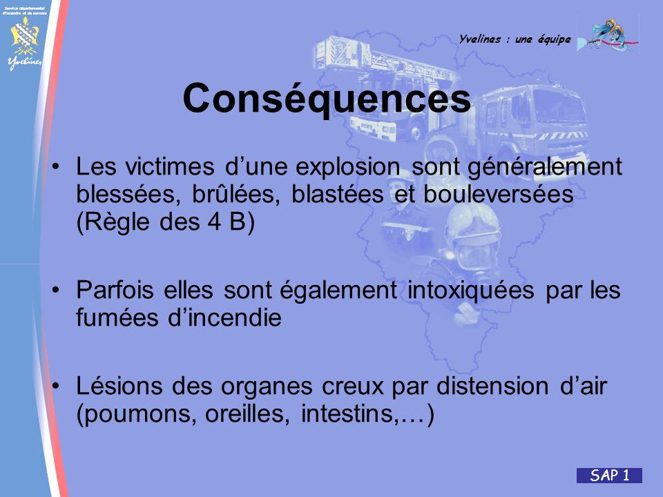 Conséquences Les victimes d'une explosion sont généralement blessées, brûlées, blastées et bouleversées (Règle des 4 B)