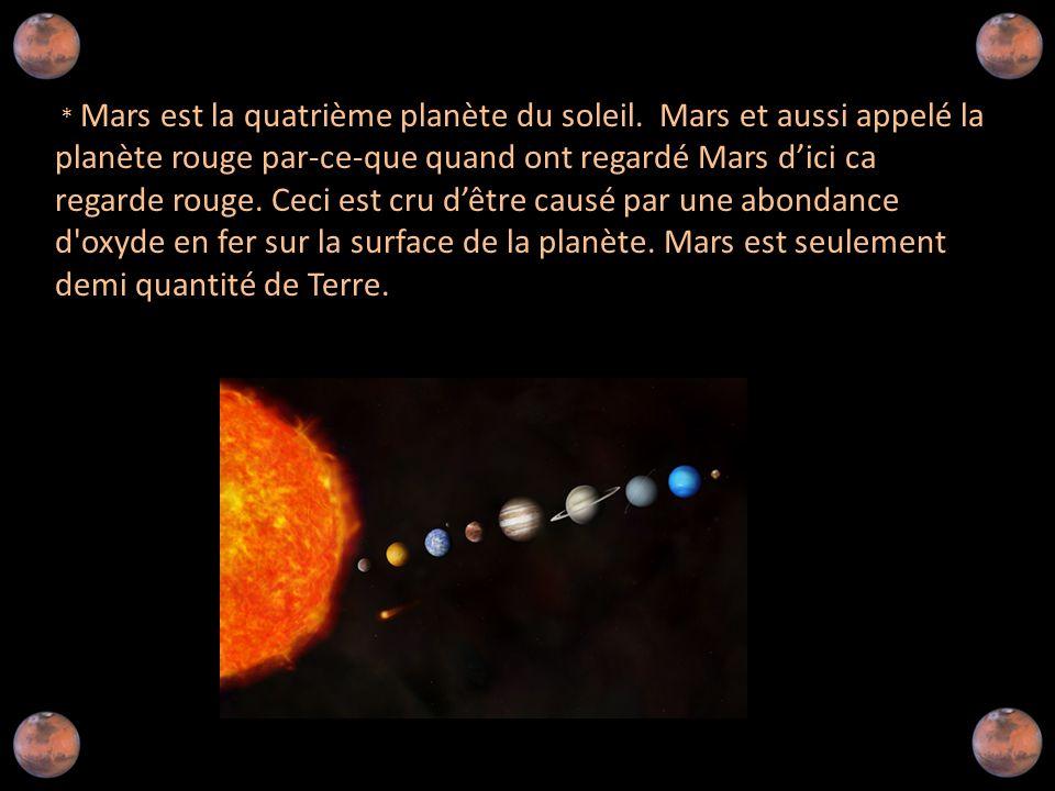 Mars est la quatrième planète du soleil