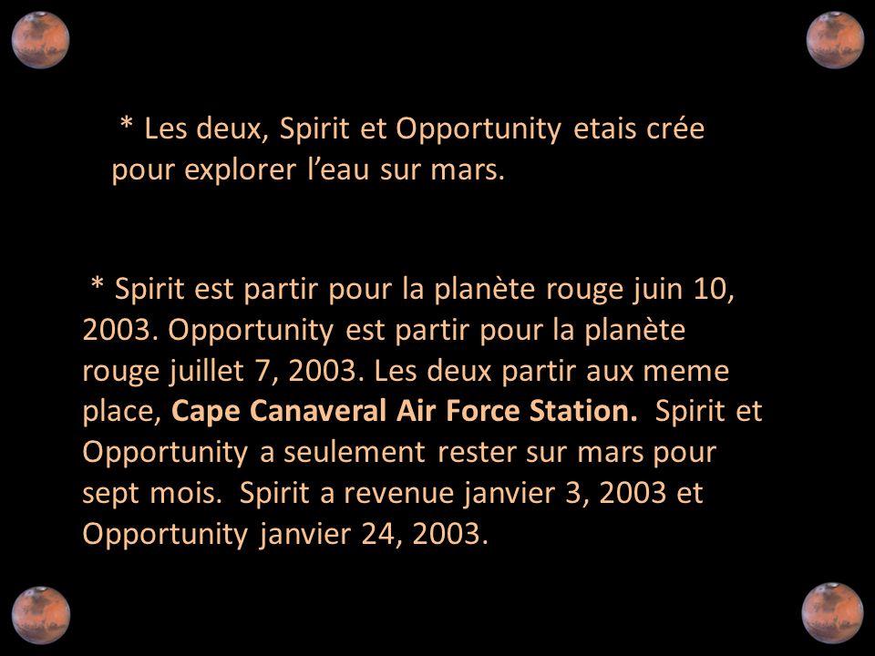 * Les deux, Spirit et Opportunity etais crée pour explorer l'eau sur mars.
