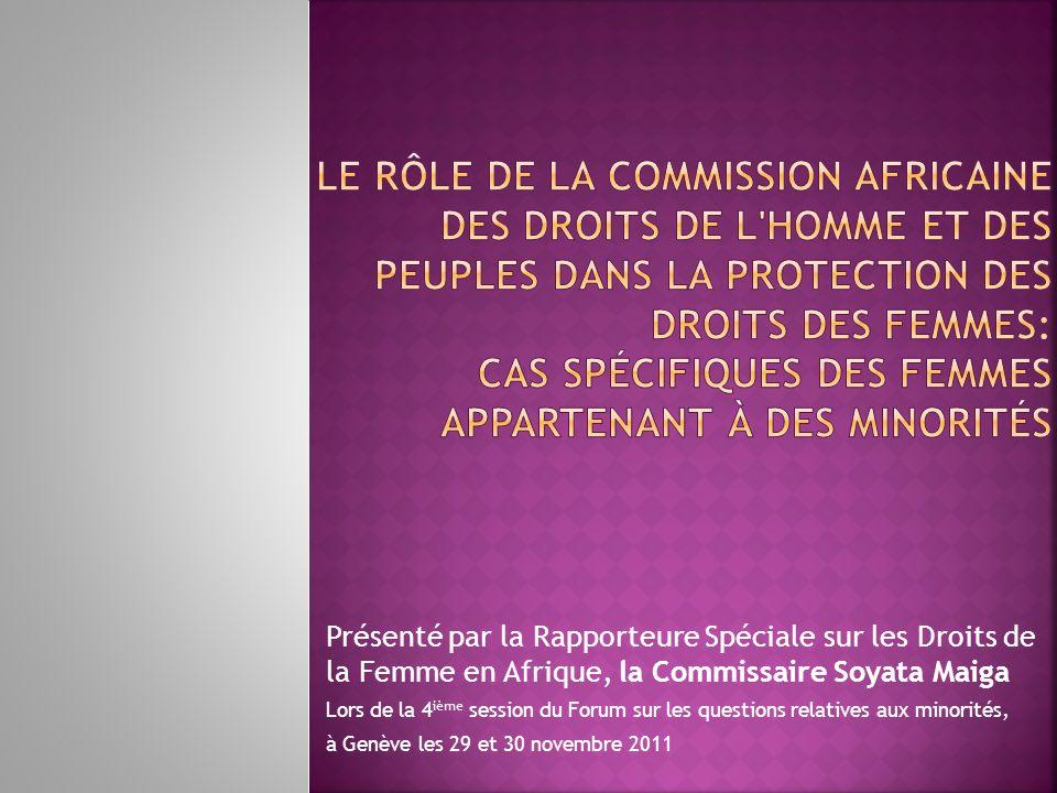 Le Rôle de la Commission Africaine Des Droits de l homme et des Peuples dans la protection des droits des femmes: Cas spécifiques des femmes appartenant à des minorités