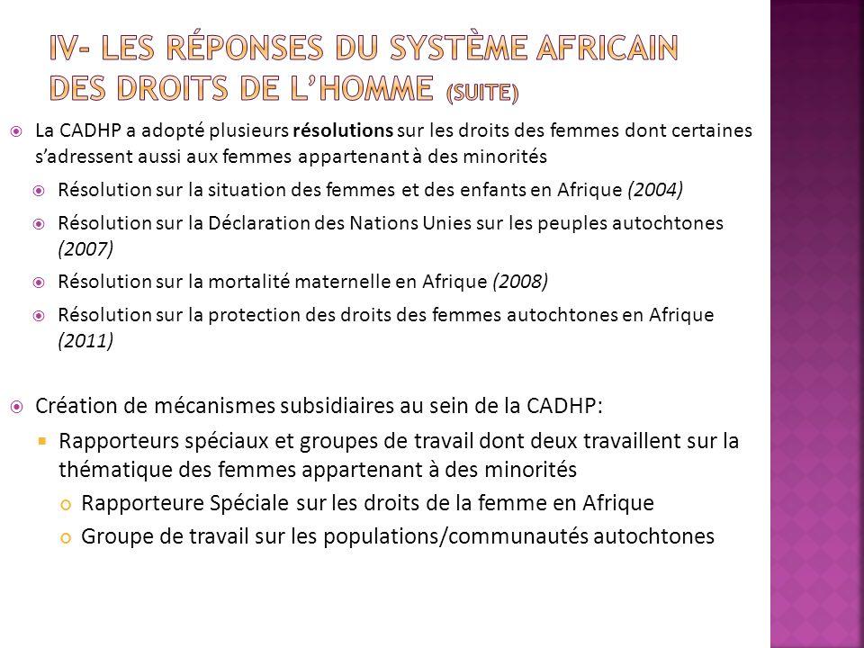 IV- Les réponses du système africain des droits de l'homme (suite)