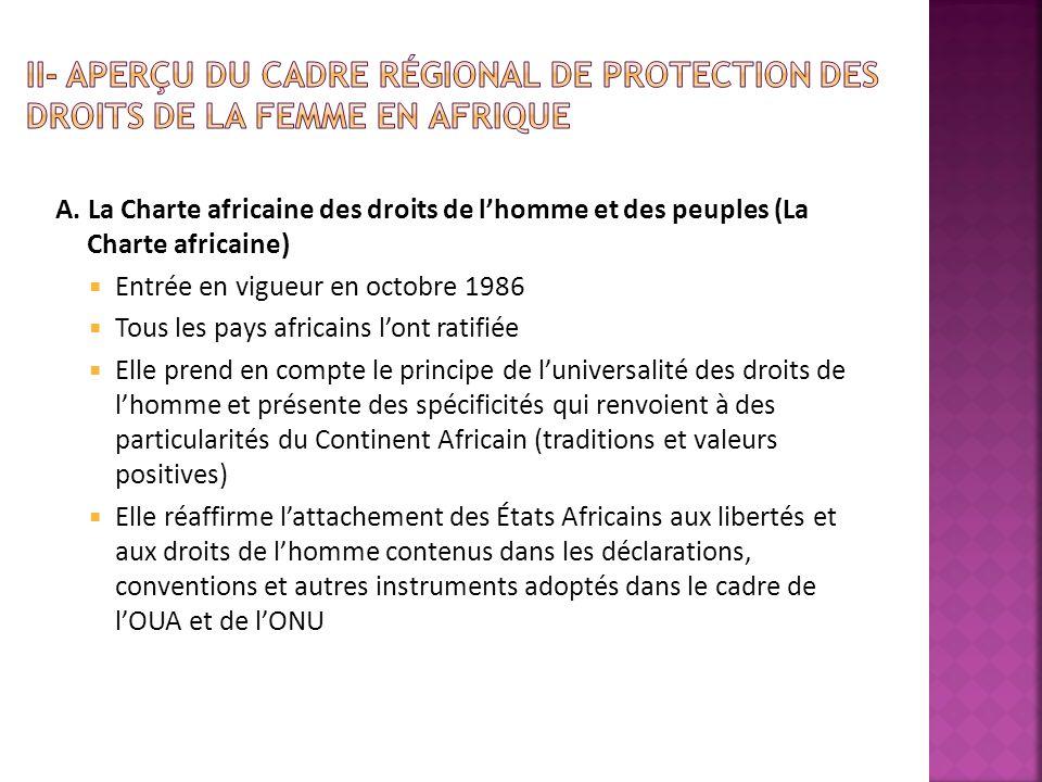II- Aperçu du Cadre Régional de protection des droits de la femme en Afrique