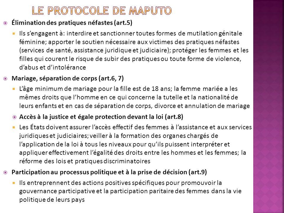 Le Protocole de Maputo Élimination des pratiques néfastes (art.5)